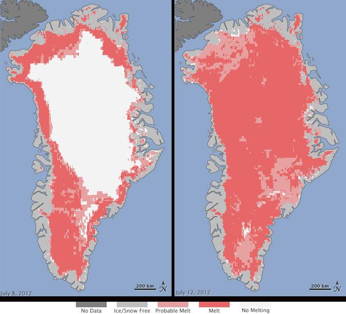 グリーンランドの氷床の表面がほぼ全域で融解