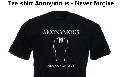 アノニマスのロゴが入ったTシャツ