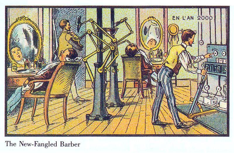 19世紀の人が思う100年後の世界 理髪店
