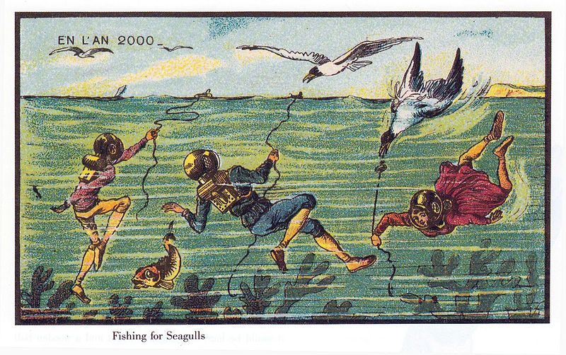 19世紀の人が思う100年後の世界 カモメ釣り