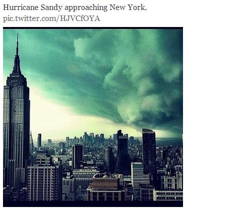 巨大ハリケーン「サンディ」 マンハッタン上空