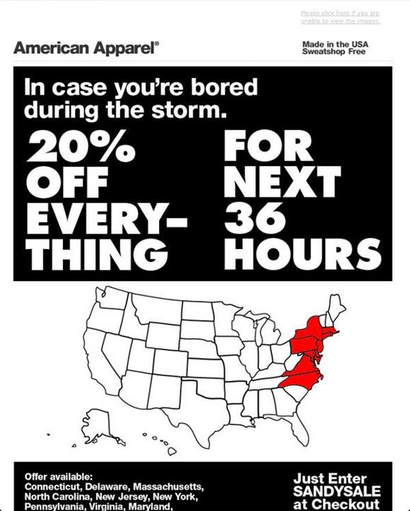 アメリカンアパレルの「サンディセール」広告