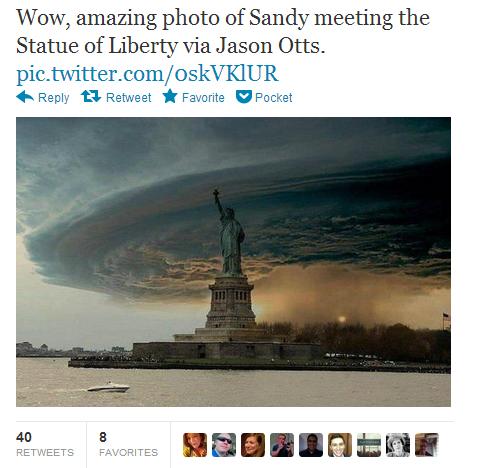 巨大ハリケーン「サンディ」 ニューヨーク湾