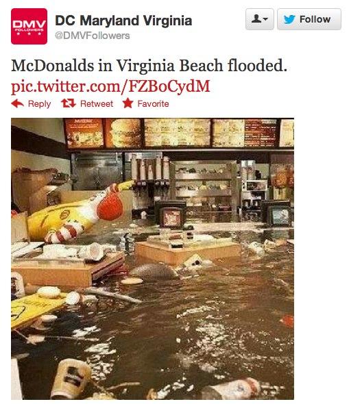 巨大ハリケーン「サンディ」 マックが浸水