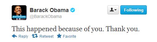 オバマ大統領の勝利宣言ツイート