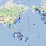 Googleストリートビューで閲覧可能な場所が一目でわかる世界地図