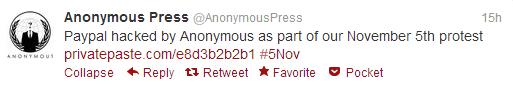 アノニマス ハッキング成功を宣言するツイート