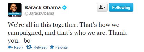 オバマ大統領の勝利宣言ツイート2