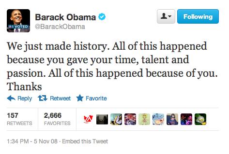 オバマ大統領 2008年当選時のツイート