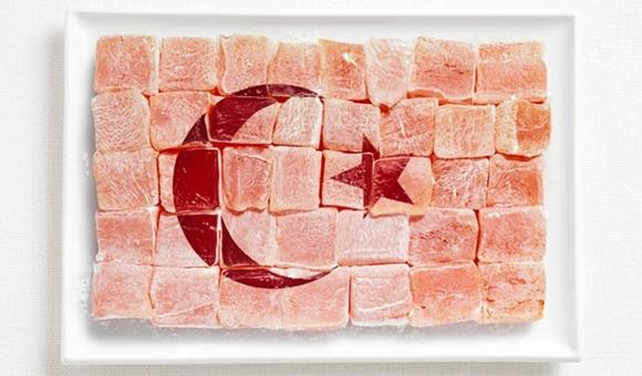 食べ物で作ったトルコの国旗