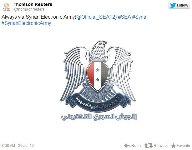 シリア電子軍 ロイター 犯行声明