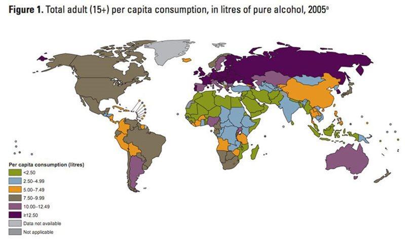 国別アルコール平均摂取量
