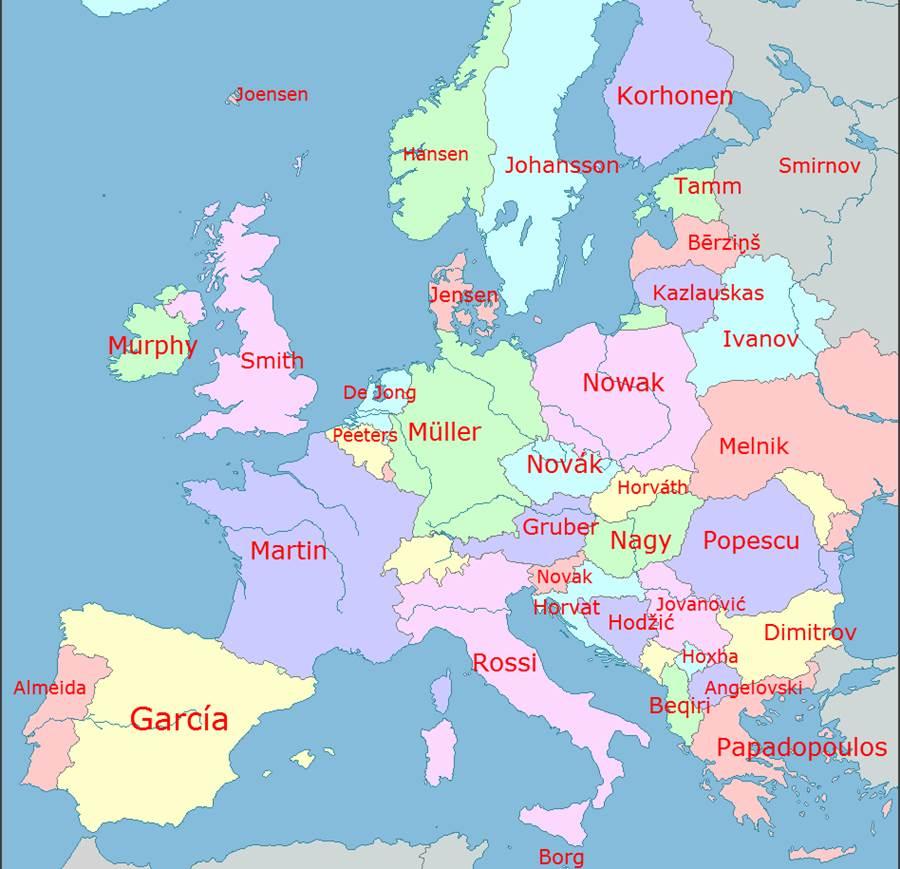 ヨーロッパの国々で最も一般的な苗字