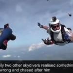 【動画】空中で気絶したスカイダイバーを仲間が救出!!衝撃のヘルメットカメラ映像