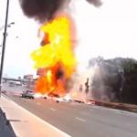 【ハイウェイ・トゥ・ヘル】高速道路でトラックが大爆発する映像