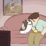 頼りないご主人と賢い犬の心温まるショートアニメ「オムレツ」