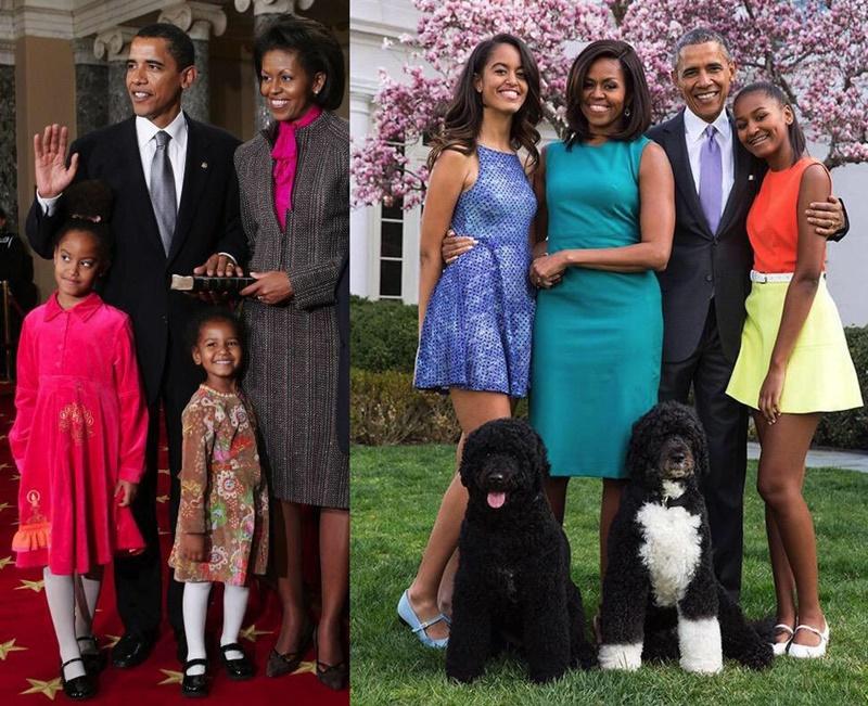 オバマ大統領一家 10年前と今