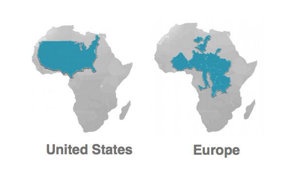 アフリカ 大きさ アメリカ ヨーロッパ