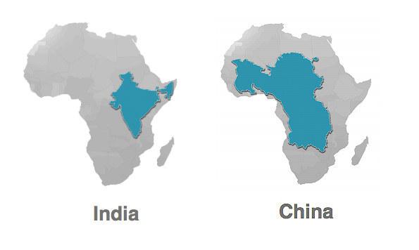 アフリカ 大きさ インド 中国