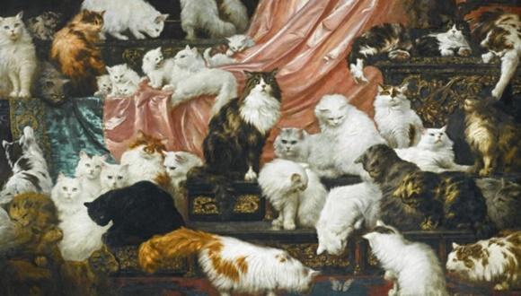 猫の絵画 オークション